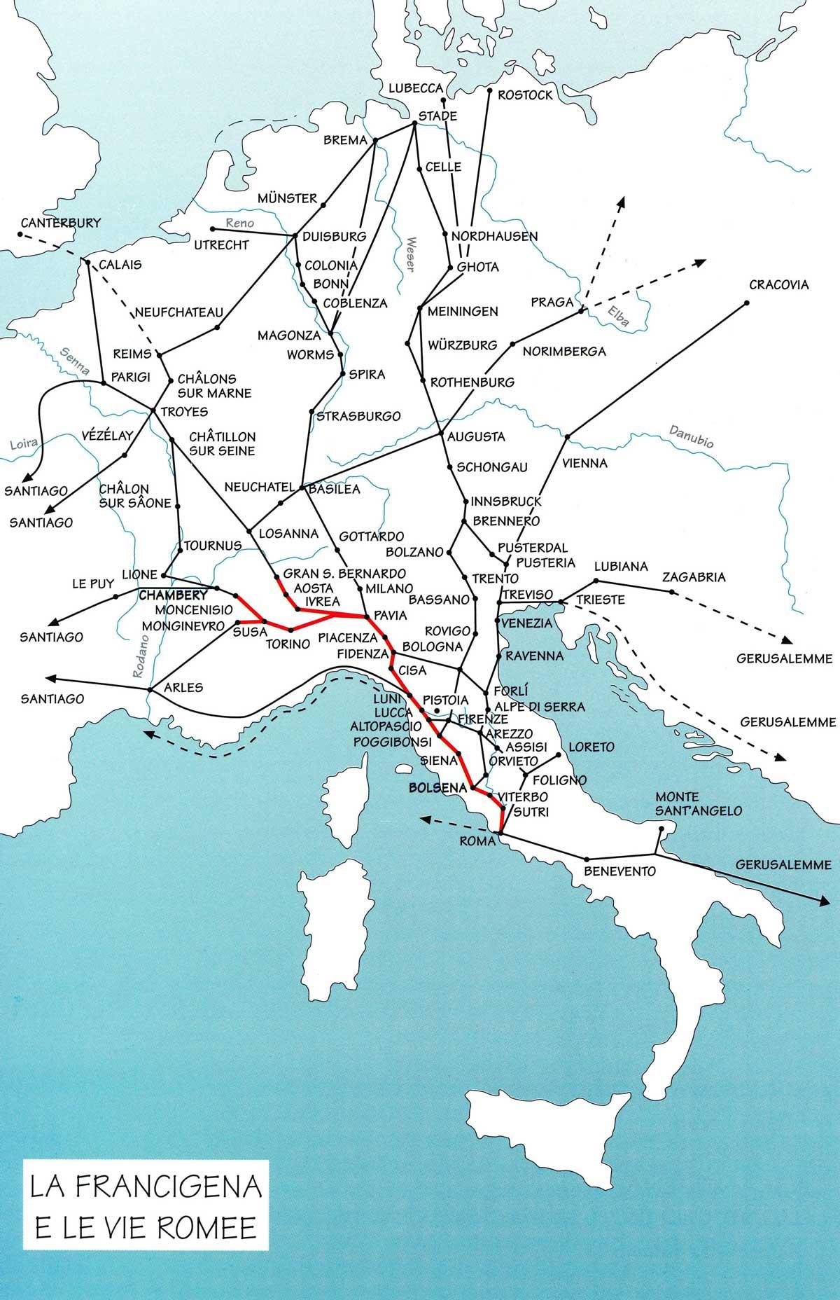 Lungo la Via Francigena e le Vie Romee